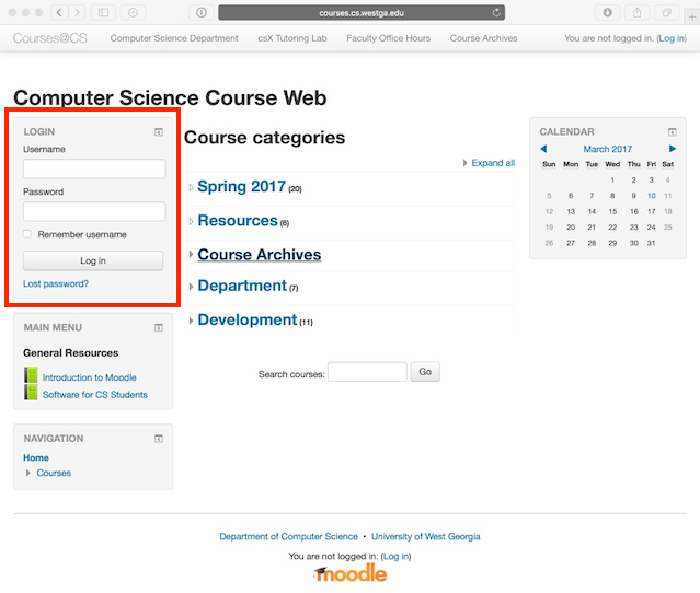 Moodle home page, location of login box