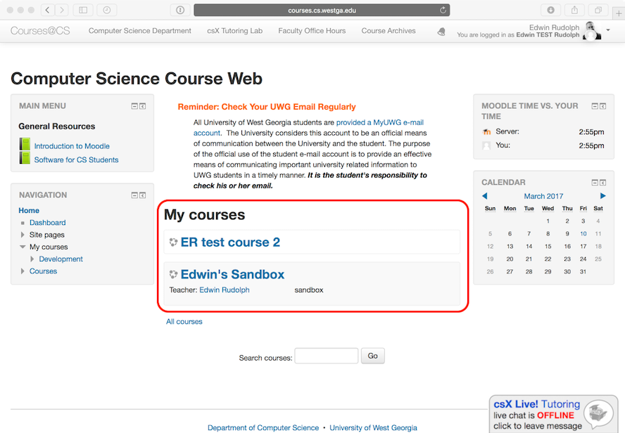 Example of current courses listed on Moodle home page