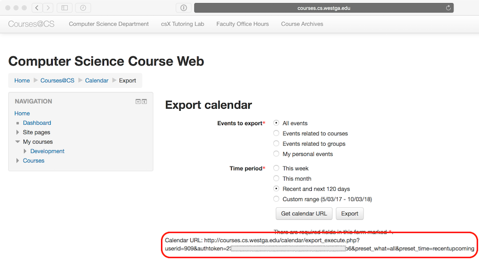 Screenshot showing Moodle calendar export